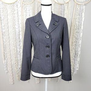 Loft Womens Gray Ponte Knit 3 Button Blazer
